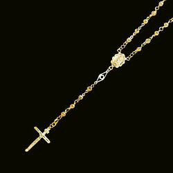 Yellow Gold Mens Women 14k Rosary Necklace 4mm Puff Ball 26