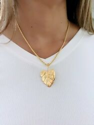 Gold Plated Leaf Necklace For Women Floral Pendant Rope Chain Flower Charm