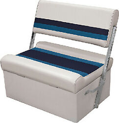 Wise 8wd125ff Deluxe Pontoon Flip Flop Seats Color White/navy/blue