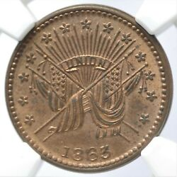 1863 Civil War Token F-189/399a Ngc Ms64 Rb Draped Flags Patriotic Cwt Red Brown