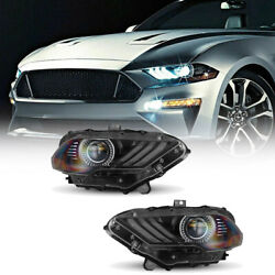 1 Pair Headlights For 2018 - 2021 Ford Mustang Led Drl Projector Headlamps Set