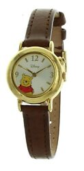 Girls Disney Winnie The Pooh Musical Collectible Watch Brown Leather Band Mu0668