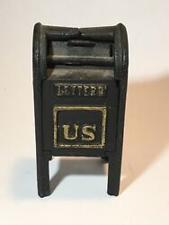 Vintage Cast Iron Us Mail Mailbox Still Dime Bank Box Letters Moving Door
