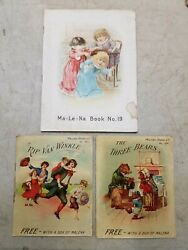 Lot Of 3 Malena Cures Victorian Advertising Trade Card Booklets 19, 101, 104