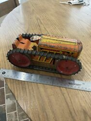 Vintage 1950and039s Marx Toys Usa Tin Litho Tractor Wind Up Toy W/ Key - Working
