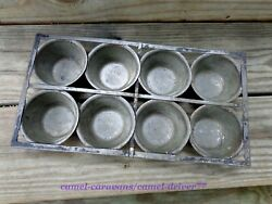 Antique Vtg 8 Cup Metal Muffin Tin Pan Riveted Frame Farmhouse Primitive Camp