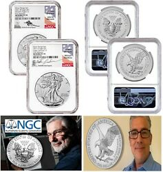 2021 Reverse Proof Silver Eagle 2 Coin Designer Set, Ngc Rev Pf70 First Releases