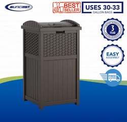 Gallon Hideaway Can Resin Outdoor Trash With Lid Use In Backyard, Deck, Or Patio