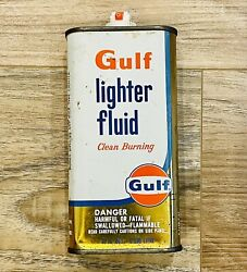 Gulf Oil Rare 10 Ounce Lighter Fluid Tin Can Gas Station Advertising Vintage