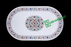 4and039x2and039 White Marble Table Top Center Coffee Dining Inlay Pietra Dura Mosaic P60