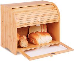 2 Layer Bamboo Roll Top Bread Box Large Capacity Bread Keeper Kitchen Food With