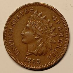 1865 Indian Cent Penny Xf+/au