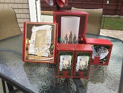 Lenox Crystal Christmas Hurricanes Picture Frame Candy Bowl