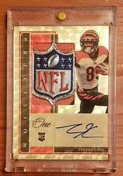 2020 Panini One Tee Higgins Gold Vinyl Nfl Shield Rookie Patch Auto 1/1