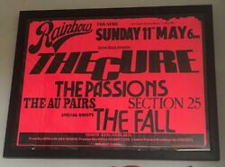 The Cure And The Fall Rare Original Rainbow 1980 Gig Poster +coa Punk New Wave