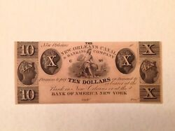 1830's 10 Louisiana Canal And Banking Co. New Orleans - Bank Of America Unc