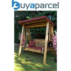 Charles Taylor Wooden Dorset 2 Seater Swing Seat Chair Bench Red Cushion Cover