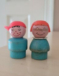 Vintage Fisher Price Little People All Wood Turquoise Boy And Girl For Snowmobile