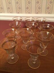 Gold Trim Steam Crystal Set Of 11 Wine And Juice Glasses 5andrdquo Tall