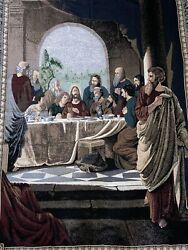Chatham Last Supper Throw Blanket Vintage Religious Tapestry Jesus Church Christ