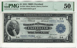1918 1 Federal Reserve Banknote Cleveland Fr.720 Pmg About Uncirculated 50
