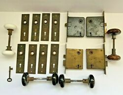 Antique Russell And Erwin Mortise Door Lock Sets Plates Knobs Locks Key Lot Of 4