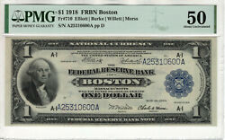 1918 1 Federal Reserve Banknote Boston Fr.710 Pmg About Uncirculated 50 600a