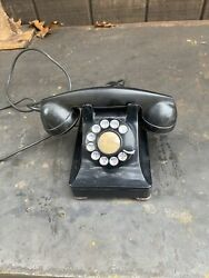 Vintage Western Electric Bell System F1w Black Rotary Dial Desk Telephone Phone