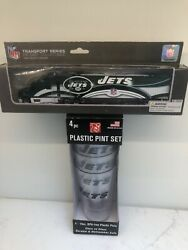 New York Jets Nfl Plastic Pint Cups Boelter W/ Die Cast Tractor Trailer Afc Lot