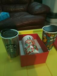 Starbucks Lot Double Wall Flowers Poppies Melted New Ceramic