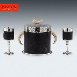 Unusual 20thc Indian Silver Plate, Elephant Leather Ice Bucket And Goblets C.1940