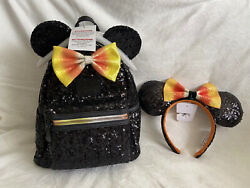 Loungefly Disney Parks Candy Corn Halloween Backpack And Ears Brand New Nwt