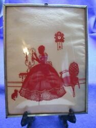 Rare Vintage Red Convex Bubble Silhouette Victorian Lady 6 X 8 Hard-to-find