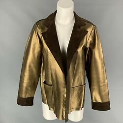 Yves Saint Laurent By Tom Ford Size L Gold And Brown Leather Reversible Jacket