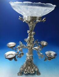 Silverplate Epergne With Cut Crystal Bowl Children In Forest C.1880 5580