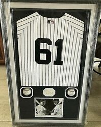Yankees Mantle Maris 61 Hbo Movie One-of-a-kind Orig. Tribute Jersey Shadowbox