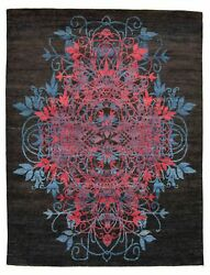 Modern Hand-knotted Carpet 8'3 X 11'0 Black Wool Area Rug