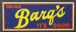 Original 1950and039s Barqand039s Root Beer Bright And Colorful Day-glo Sign Barqs 28 X 11