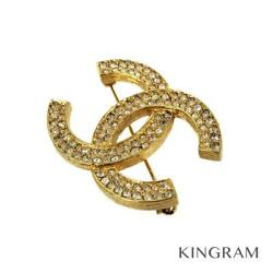 Gold Plated Coco Mark Rhinestone Brooch From Japan