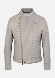 Emporio Armani Grey Quilted Leather Biker Jacket Large Eu52 Rrp £1795 Puffer