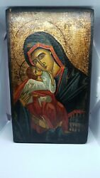 Antique Byzantine Ikone 19c Russian Grecce Orthodox Icon Hand Painted Our Lady
