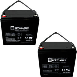 Mighty Max 12v 55ah Int Battery Replaces Wheel Horse Charger 12 Tractor - 2 Pack