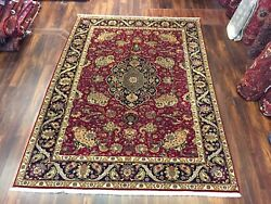 Burgundy Genuine Hand Knotted Vintage Traditional Area Rug Carpet 7'6x10'3,2860