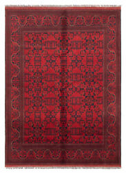 Vintage Geometric Hand-knotted Carpet 5and03911 X 7and03910 Traditional Wool Area Rug