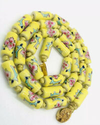 Chinese Export Long Ceramic Yellow Beaded Necklace Hand Painted Vintage Jewelry