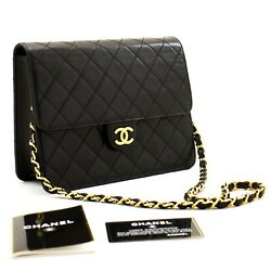 A41 Authentic Small Chain Shoulder Bag Clutch Black Quilted Flap Lambskin