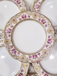 10 Antique Copeland, England Cabinet Porcelain Plates With Floral And Gilt