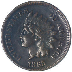 1865 Indian Head Cent Very Fine Fancy 5 Penny Vf See Pics K877