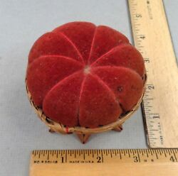 Pin Cushion Basket 4 Antique Sewing Item / Woven Basket Early 1900s