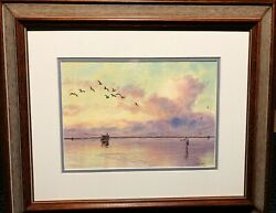 Herb Booth Fly Fishing The Flats Original Watercolor Saltwater New Frame